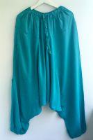 Бирюзовые штаны с мотней из вискозы