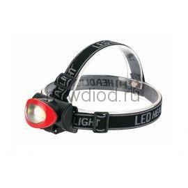 Фонарь светодиодный HL-02 налобный 3 режима 1хCOB 3хААА  ЧЕРНО-КРАСНЫЙ IN HOME