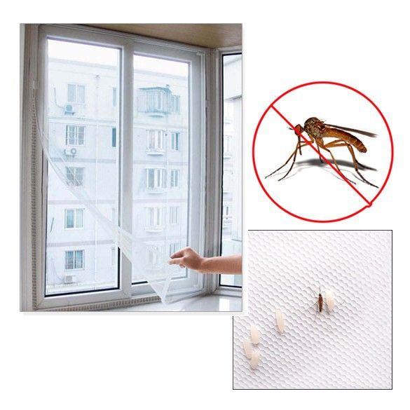 Москитная сетка на окна с самоклеящейся лентой для крепления (Размер: 130х150 см)
