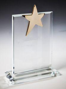 Награда из стекла  (16 см, нанесение  включено в стоимость)
