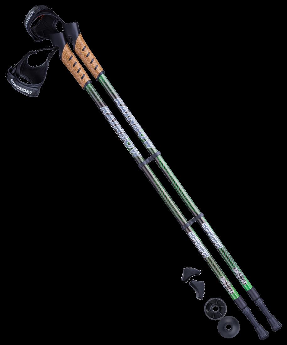 Палки для скандинавской ходьбы Rainbow, 77-135 см, 2-секционные, чёрный/ярко-зелёный
