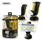 Держатель для мобил. устр. Remax, Dolphin, RM-C20, пластик, на присоске, на шарнире, цвет: чёрный, с жёлтой вставкой