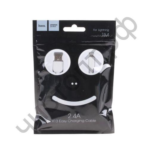 Кабель USB - Apple 8 pin HOCO X13 Easy, 1.0м, круглый, 2.4A, силикон, цвет: белый