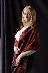 Роскошный широкий теплый шарф, 100 % драгоценный кашемир WOOD CUT BROWN & ORANGE  Вуд Кат Коричневый , плотность 5