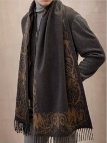 Роскошный широкий теплый шарф, 100 % драгоценный кашемир WOOD CUT CHARCOAL & DARK CAMEL   Вуд Кат Угольный и Верблюжий , плотность 5