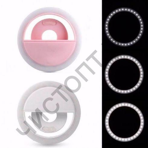 Подсветка для селфи RK-12 прищепка аккум 3 реж ярк корпус розовый для любого смарт