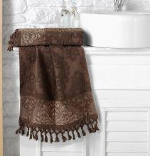 "Полотенце махровое жаккард  ""KARNA"" OTTOMAN  (т.коричневое) 70*140 Арт.1088-11"