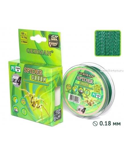 Плетеная леска German Spider Green 100 м