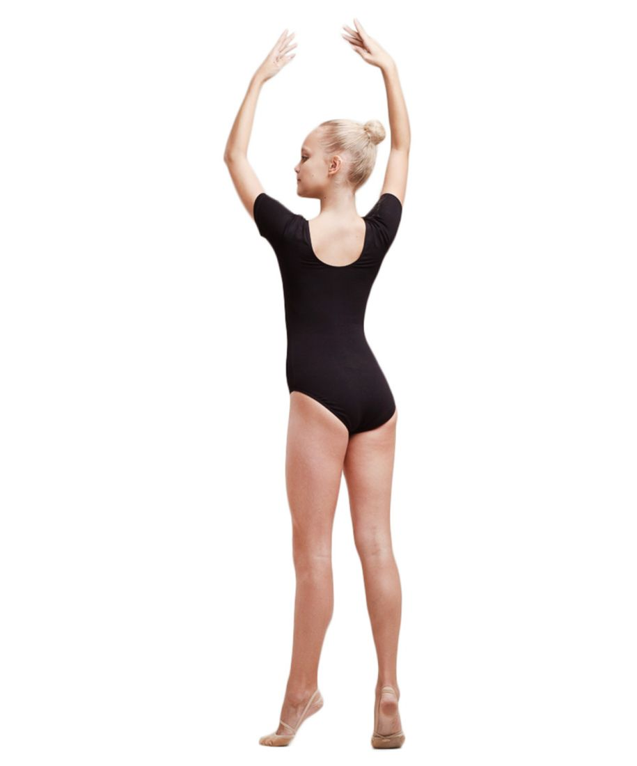 Купальник гимнастический с коротким рукавом, хлопок, черный,190 г/м