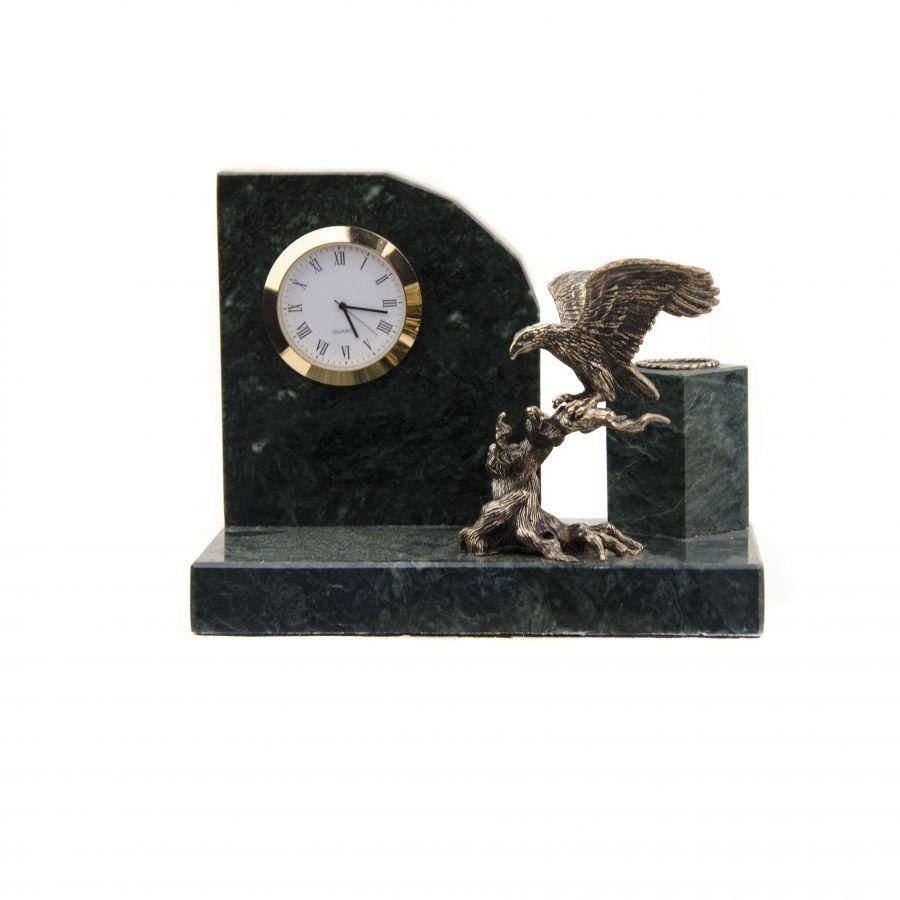"""Настольный набор с часами """"Орел на коряге"""""""