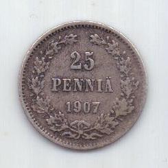25 пенни 1907 г. редкий год. Финляндия. Российская империя