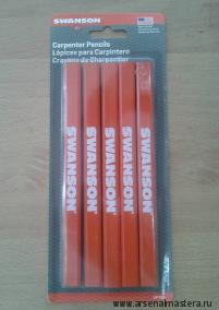 Карандаши классические Swanson Carpenter Pensils, 5 штук  М00008048