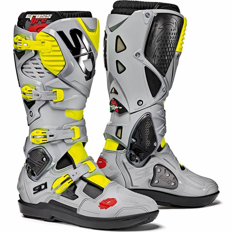 Sidi - Crossfire 3 SRS Black/Ash/Yellow Fluo мотоботы, черно-серо-желтые