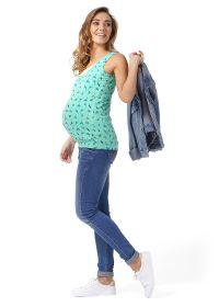 """Майка """"Гретта"""" для беременных и кормящих изумрудный птички"""