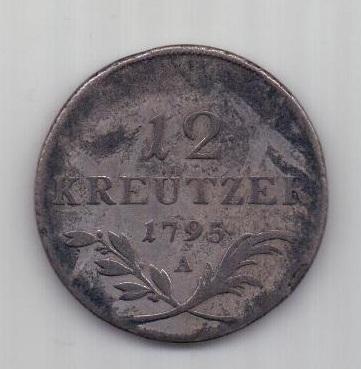 12 крейцеров 1795 г.  редкий номинал. Австрия