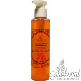 Гель для душа «Клубника-Шейк» для мытья тела натуральный увлажняющий (Код 5084 - объем 150 мл)