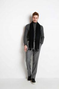 однотонный кашемировый шарф (100% драгоценный кашемир), классический чёрный цвет, высокая плотность 7