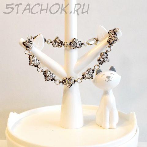 """Серебряный браслет """"Сердечки"""" черненое серебро 925 (США)"""