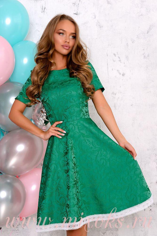 Платье изумрудное летнее