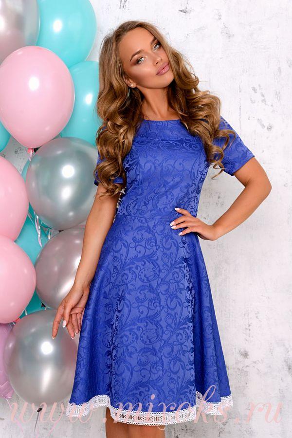 Платье синее из жаккарда