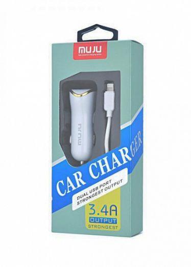 ЗУ в прикуриватель на 2 гнезда USB + кабель MUJU MJ-C06