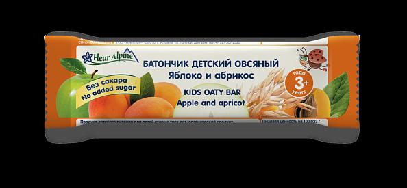 Флёр Альпин - батончик детский Органик Овсяный с яблоком и абрикосом, с 3-х лет, 23 гр.