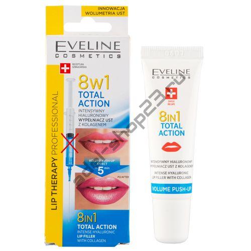 EVELINE - Филлер для губ TOTAL ACTION 8 в 1 интенсивный гиалуроновый с коллагеном 12 мл