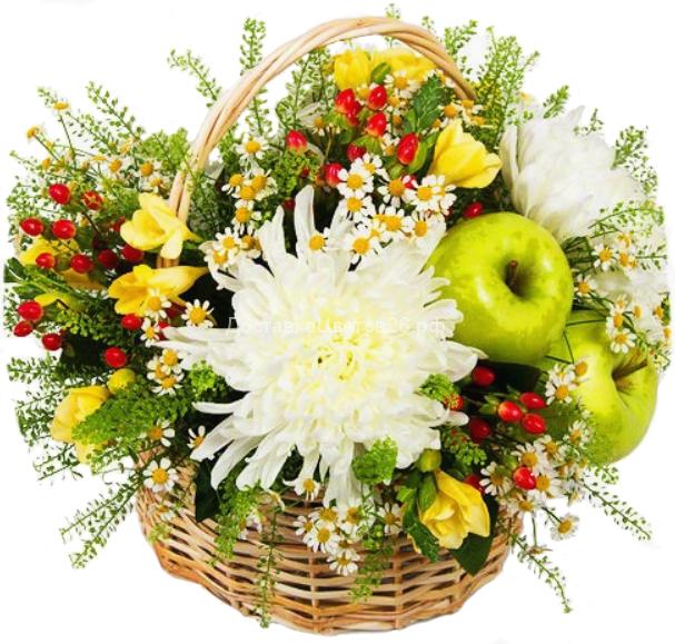 Корзинка Яблоки в цветах