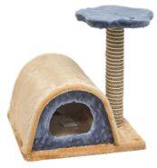 ЧИП Домик-когтеточка двухуровневый с полукруглой крышей и полкой (сизаль/джут)