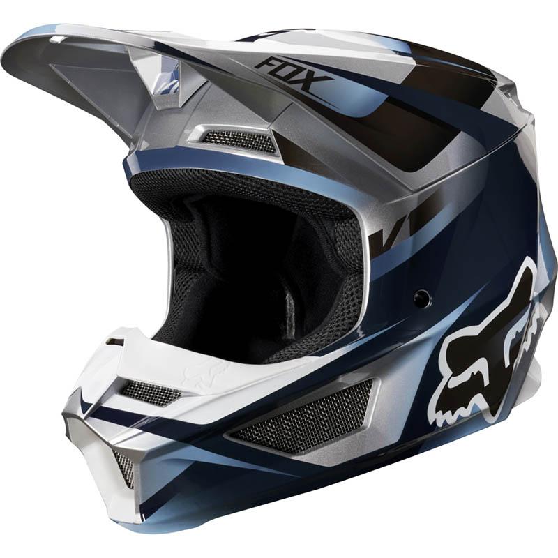 Fox - 2019 V1 Youth Motif Blue/Grey ECE шлем подростковый, сине-серый