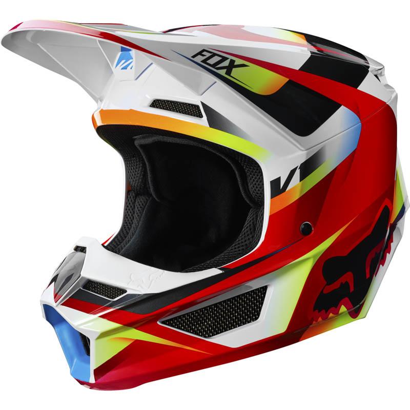Fox V1 Youth Motif Red/White шлем подростковый, красно-белый