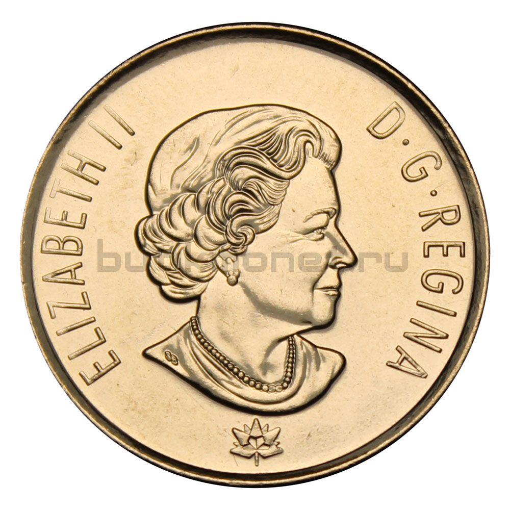 25 центов 2017 Канада Надежда на зелёное будущее Цветная (150 лет Конфедерации Канады)