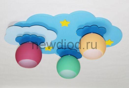 Детская потолочная люстра «Облако с цветными плафонами»