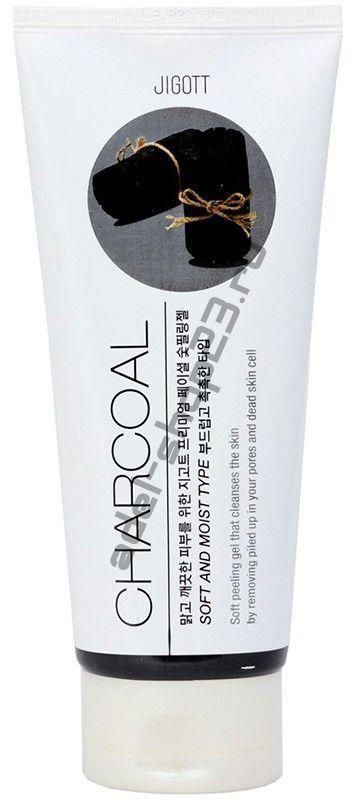 Jigott - Гель-пилинг с древесным углем,  Premium Facial Charcoal Peeling Gel