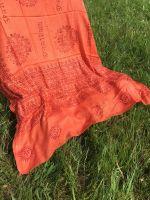 Оранжевый шарф парео, индийский хлопок марлевка. Купить в Москве