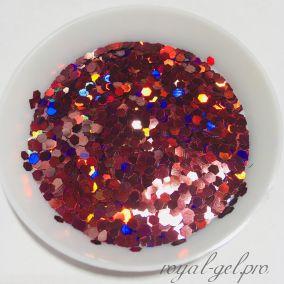 "Конфетти шестигранник 1/12""(2.0mm)080 LB304(Laser Wine Red)"