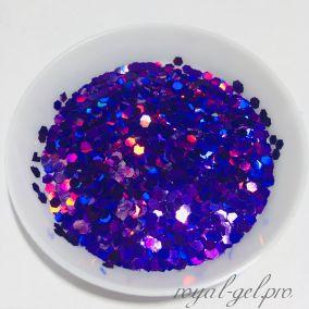 """Конфетти шестигранник 1/12""""(2.0mm)080 LB800(Laser Violet)"""