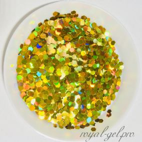 "Конфетти шестигранник1/12""(2.0mm)080 LB200(Laser Gold)"