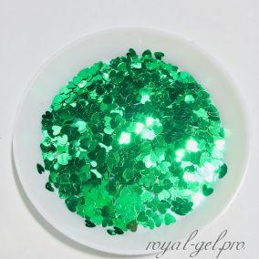 Конфетти сердечки 3mm Heart B0603(Grass Green)