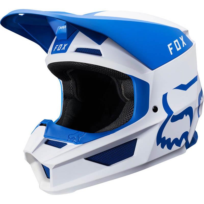Fox - 2019 V1 Mata Blue/White шлем, сине-белый матовый