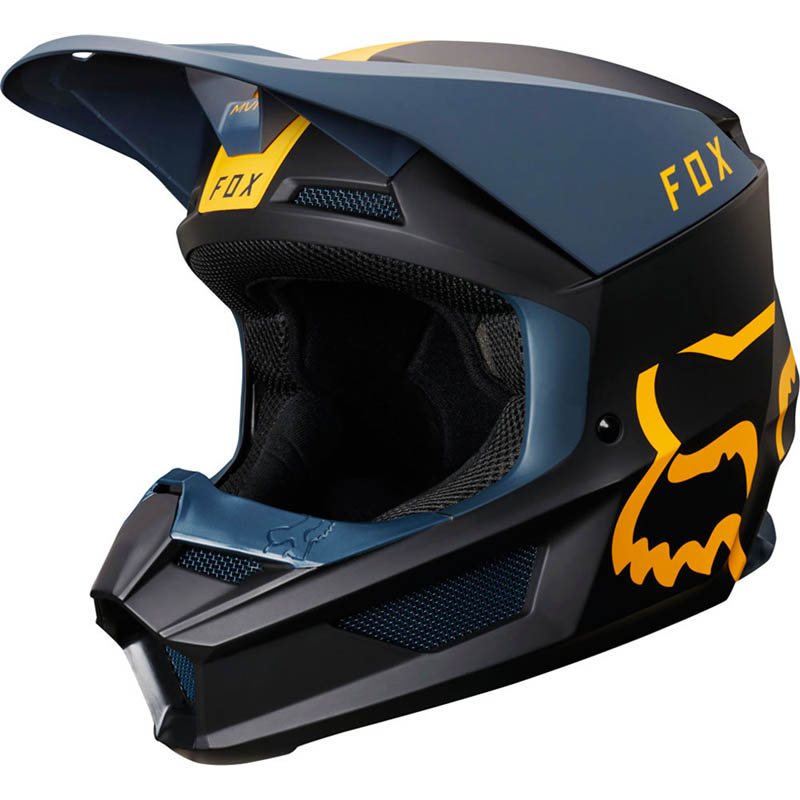 Fox - 2019 V1 Mata Navy/Yellow шлем, сине-желтый матовый