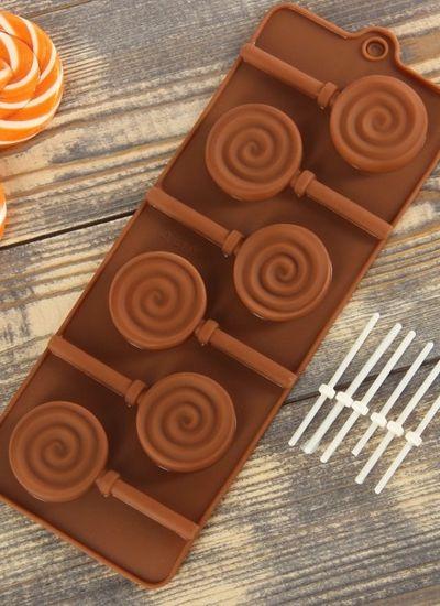 """Форма для шоколада """"Леденец"""", 6 ячеек, цвета МИКС"""