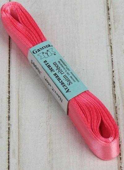 Лента атласная, 12мм, 5,4м, №005, цвет розовый