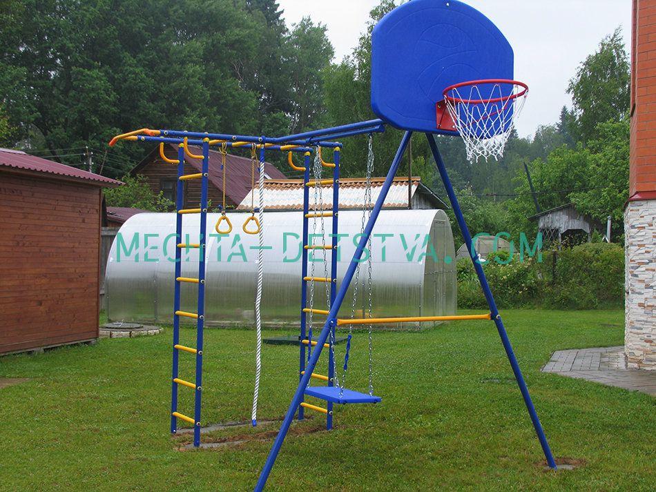 Непоседа-Дачник Модель № 2 с качелями на цепях/подшипниках и баскетбольным кольцом
