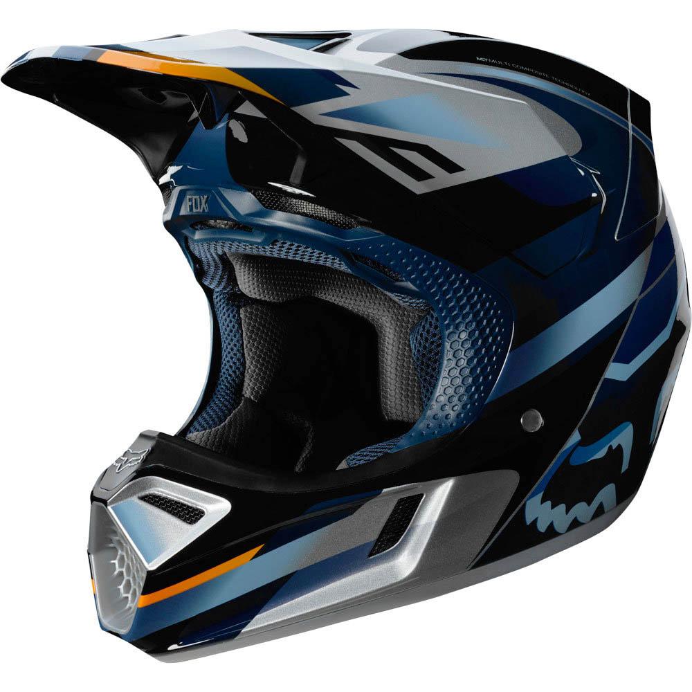 Fox V3 Motif Blue/Silver шлем, сине-серебристый