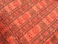 Мужские штаны алладины оранжевого цвета; ткань с символом Ом (Аум)