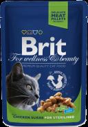 Brit Premium Chicken Slices for Sterilised Кусочки c курицей для стерилизованных котов и кошек (100 г)