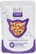 Brit Care Kitten Chicken & Cheese - Курица и сыр (для котят) (пауч 80 г)