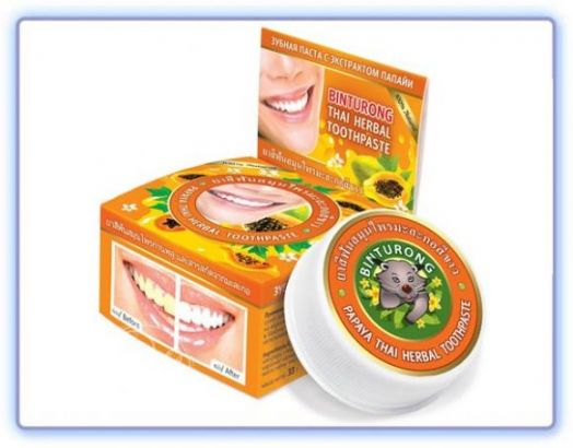 Binturong Papaya Thai Herbal Toothpaste Круглая зубная паста с экстрактом папайи