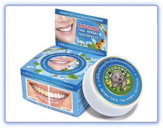 Binturong Antibacterial Thai Herbal Toothpaste Круглая зубная паста антибактериальная